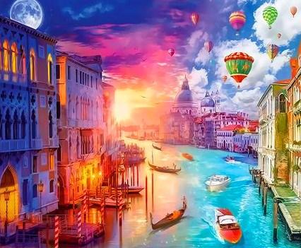 Картина по номерам 30x40 День и ночь в чудесной Венеции