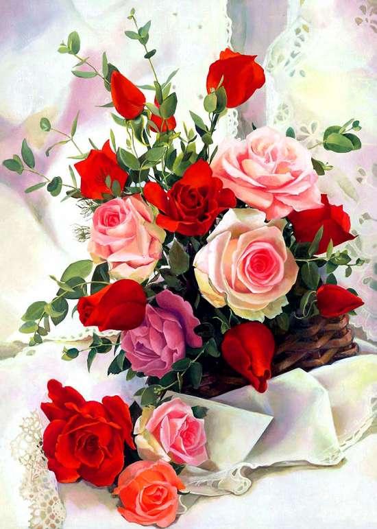 Картина по номерам 40x50 Букет роз на белой драпировке